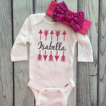 Baby Girl Onesuit, Custom Name, Monogram Arrow, Bodysuit for girls, Girls Onesuit, Baby Clothing
