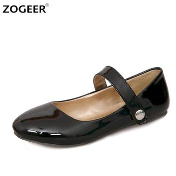 big size 48 new fashion ankle strap women flats patent leather candy color pointed to  number 1
