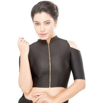 Black Saree Blouse High Neck Zipper Cold Shoulder Stretchable Crop Top