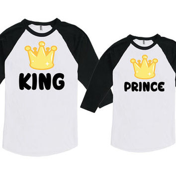 Matching Father Son Shirts Father And Son Gift Daddy And Son Shirts King And Prince Bodysuit American Apparel Unisex Raglan MAT-712-714
