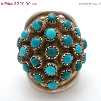 Sale Zuni Snake Eyes Turquoise Ring Sterling Silver Size 6 Vintage