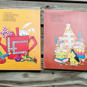 70's Crossword Puzzle Books Set of Two, Set of Two Vintage Crossword Puzzle Books, Kids Grades 3-4 Crossword Puzzles, Whitman Crosswords