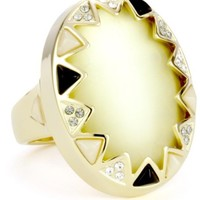 House of Harlow 1960 Gold-Plated Resin Stone and Crystal Ring