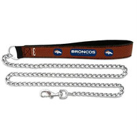 Denver Broncos Football Leather 2.5mm Chain Leash - M