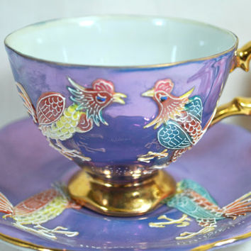 Tea Set Lusterware and Hand Painted Roosters Purple and Gold , Raised Painted Tea Cup and Saucer