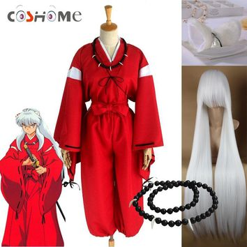 Cool Coshome Anime Inuyasha Cosplay Costumes Red Japanese Kimono Men Robe Costume W Wigs Ears And Necklace For Halloween PartyAT_93_12