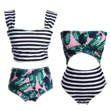 DCCK7N3 New Bikinis Women Swimsuit Floral Top Stripe Bottom Swimsuit High Waist Bikini Brazilian Biquini Tropical Bathing Swimwear Suit
