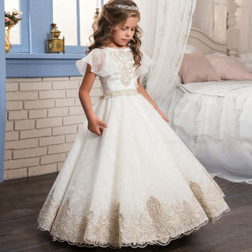 2017 New Fashion Lace Appliques Short Sleeves Ball Gown Flower Girl Dress Girls Pageant Gowns First Communion Dress  F217