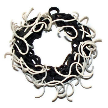 Frayed Black and White Glow In the Dark Bracelet - Rubber Band Bracelet w/ Frayed Bands That Glow Green