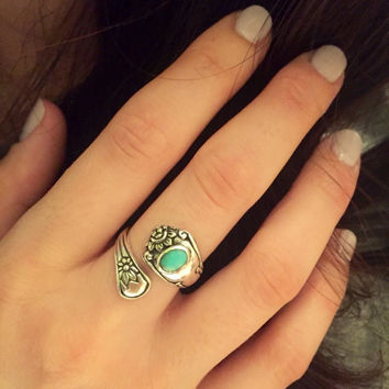 Spoon Ring-Turquoise Spoon Ring-Sterling Silver Spoon Ring with Turquoise Colored Stone-Vintage Spoon Ring-Statement Ring-925 Spoon Ring
