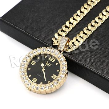 """Hip Hop Iced Out Post Malone Watch Pendant Necklace W/10mm 24"""" Miami Cuban Chain"""
