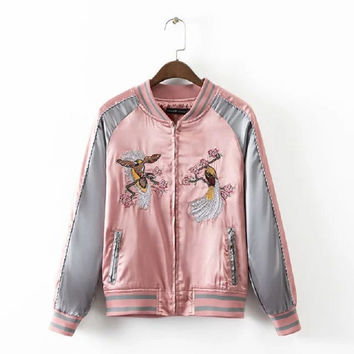 New Embroidery Bomber Jacket 2016 Street wear Women's Jackets Coat Loose Blouson Bombers Femme Pink Camperas Mujer Abrigo 1544