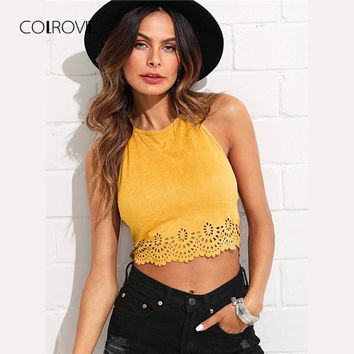 Scallop Laser Cut Suede Halter Tank Top Summer Yellow Cut Out Backless Sexy Cami Hollow Out Vacation Women Crop Top