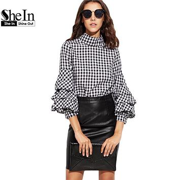 SheIn Ladies Office Autumn Women Blouses and Tops Black Gingham Cutout High Neck Billow Three Quarter Length Sleeve Plaid Blouse