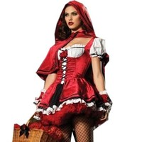 Red Riding Hood Halloween Cosplay Costume Dress ,Small, Red