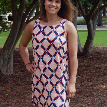 Huddle Up Dress in Navy and Orange