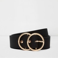 Black gold tone double ring belt - Belts - Accessories - women