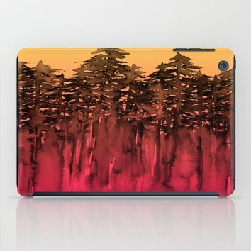 FOREST THROUGH THE TREES 12 Hot Pink Magenta Orange Black Landscape Ombre Abstract Painting Outdoors iPad Case by EbiEmporium