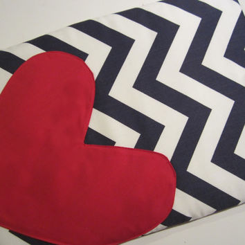 """Macbook Pro 13 Sleeve MAC Macbook Air / Pro 13"""" inch Laptop Computer Case Cover Blue & White Chevron with Heart"""