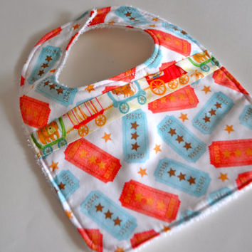 Baby bib, Circus baby bib, Circus ticket Baby bib, Red white and blue baby bib, Circus bib,Baby gift for new mom, Circus baby nursery bib