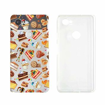 Cute Cake Sweet Food Pattern Transparent Silicone Plastic Phone Case for Google Pixel 2 Google Phone (5.74 x 2.74 x 0.31 in)_ SUPERTRAMPshop (VAS1444)