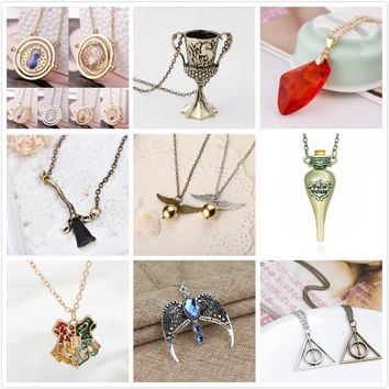 Hot sale Time Turner Hourglass Necklace Brooms Snitch Hogwarts School Badge philosopher's stone Magic Wand pendant Necklace