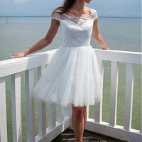[118.99] Charming Tulle & Satin Scoop Neckline A-Line Short Wedding Dresses With Lace Appliques - tbdress.eu