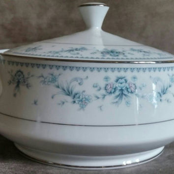 Royal Prestige China | Danielle 4120 | Round Vegetable Dish with Lid | Pink and Blue Flowers | 1950's Fine China | Vintage Fine China