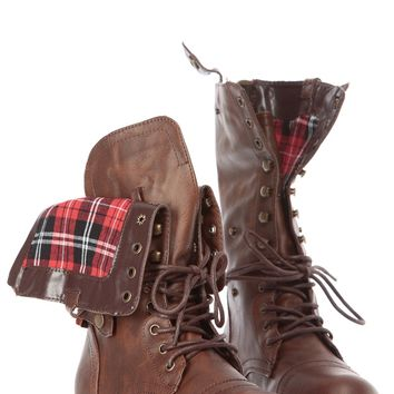 Brown Faux Leather Fold Over Plaid Print Combat Boots @ Cicihot Boots Catalog:women's winter boots,leather thigh high boots,black platform knee high boots,over the knee boots,Go Go boots,cowgirl boots,gladiator boots,womens dress boots,skirt boots.