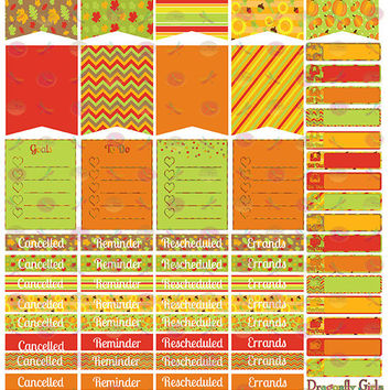 50% SALE DIY October Fall Harvest Printable Planner 68 Stickers Sheet 2 of Kit in PDF and jpeg Erin Condren Life Planner Kikkik Filofax
