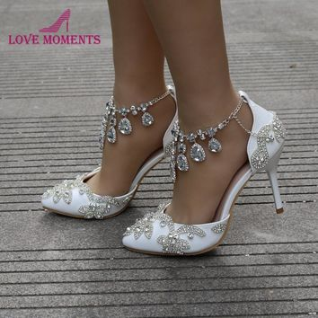 Pointed Toe Women Pumps Ankle Strap Summer Sandals Gorgeous Stone Crystal Wedding Bridal Shoes Mother of the Bride Shoes Size 42