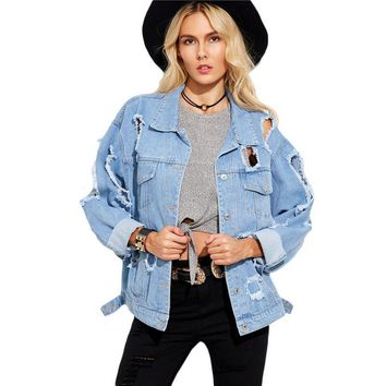 Autumn Casual Jackets for Women Blue Lapel Long Sleeve Single Breasted Hollow Boyfriend Ripped Denim Jacket