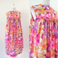 1960s op art Mod dress bright floral abstract graphic print babydoll tent midi // rainbow psychedelic colors // size OSFM