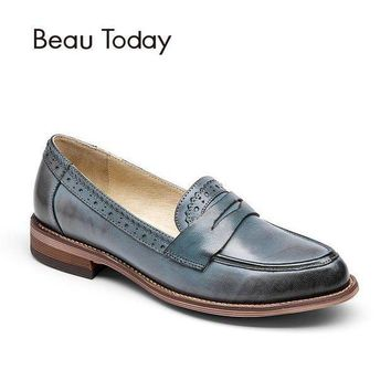 BeauToday Penny Loafer Women Handmade Sheepskin Moccasin Slip On Pointed Toe Flats Cas