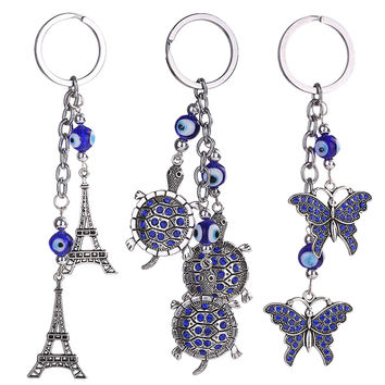 New Trendy Evil Eye Keychains Cute Animal Crystal Butterfly tortoise The Eiffel Tower Keychain Keyring Car Accessoires DM#6