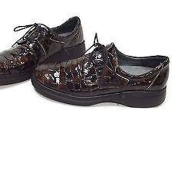 Romu's womens Helle Comfort BROWN Croc Patent Leather Oxfords Shoes Size 40  EU
