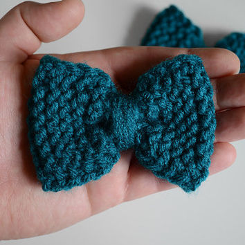Teal Blue Green Small Knitted Hand-Knit Hair Bows - Single Bow or Set of 2