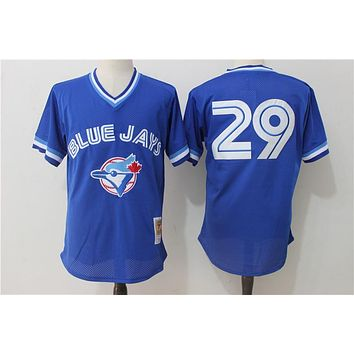 Men's Toronto Blue Jays Joe Carter Mitchell & Ness Royal 1993 Authentic Cooperstown Collection Mesh Batting Practice Jersey