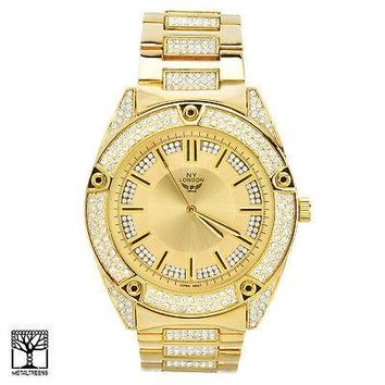 Jewelry Kay style Fashion Hip Hop Iced Out Gold Plated CZ Metal Band Men's Watches WM 1558 G