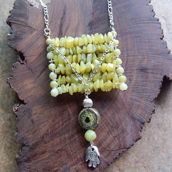 Olivine ladder necklace olive green stone long boho layering necklace hamsa necklace indie boho zen long necklace good karma jewelry