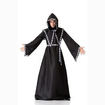 Cool Medieval Monk Cosplay Costumes Wizard Hooded Robe Friar Priest disguise Church Cowl Apparel Men Adults Fancy Vampire CostumeAT_93_12