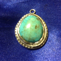 VINTAGE NAVAJO Pendant Turquoise Sterling Silver Charm 4 Necklace 925 Native American Indian