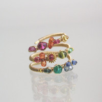 Rainbow Gemstone Ring,  Wire Wrapped Gold Filled Cocktail Ring, Emerald, Sapphire, Wraparound, Handmade, Original Design, Signature, Size 6