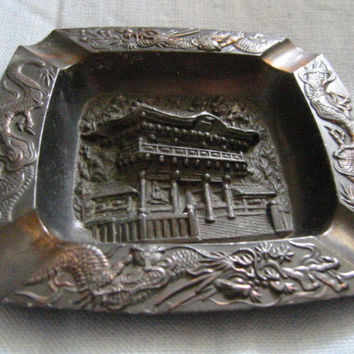 Occupied Japan Metal Ashtray Dragon Decoration Asian Monument