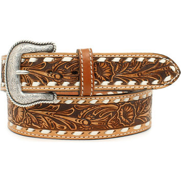 Nocona Men's Cheyenne Floral Embossed Buck Stitch Leather Belt