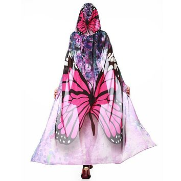 Butterfly & Peacock Wings Chiffon Hooded Cape