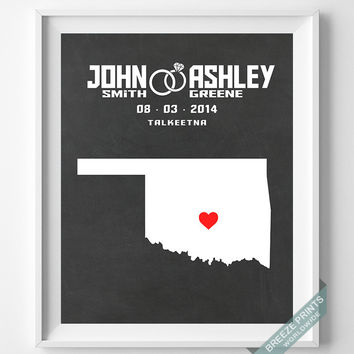 Personalized, Print, Oklahoma, Wedding, Anniversary, Customized, Couple, Gift, Map, Custom, Wall Art, Home Decor, Marriage, Love [NO 35]