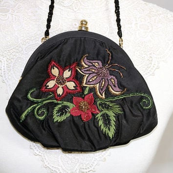 Evening Bag Inge Christopher | Black Embroidered and Beaded Floral Design | Bead Strap | Designer Bag Red Green Lavender | Evening Clutch