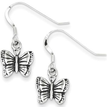 925 Sterling Silver Antiqued April Monarch Butterfly Dangle Earrings