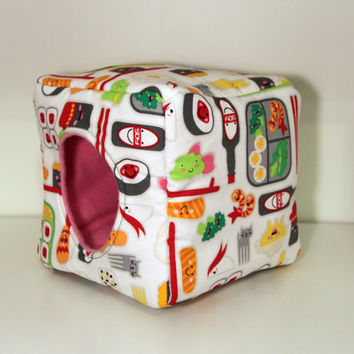 Hedgehog Snuggle Cube, Guinea Pig Cuddle House, Rat Cozy Cube - Japanese Kawaii Sushi with Pink Fleece